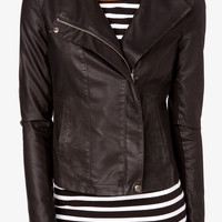 Faux Leather & Knit Moto Jacket