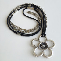 Long Antique Silver Plated Necklace/Black Necklace/Chain Necklace/Flower Jewelry/Gifts for Her/Jewelry for Stylish Woman