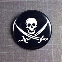 """Pirate Jolly Rodger skull 1.25"""" pinback button badge"""
