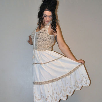 boho crochet dress / 1970s taupe eyelet lace hippie wedding dress medium large