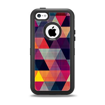 The Triangular Abstract Vibrant Colored Pattern Apple iPhone 5c Otterbox Defender Case Skin Set