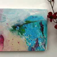 "Abstract Art Acrylic Painting on Small Canvas ""Winter""s Retreat"""