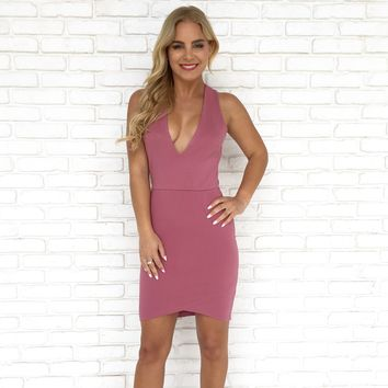 Take Off Bodycon Dress in Mauve