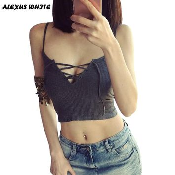 Crop Tops Women  Summer Womans Short Bralette Low Cut Tanks Top Bandage