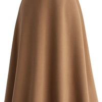 Classy Chic Wool-blend A-line Midi Skirt in Tan