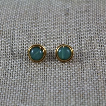 Circle Stud Earrings - Jade & Gold