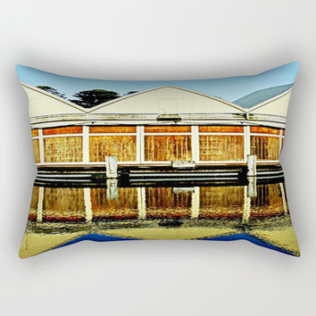 Reflections of a old boat Shed Rectangular Pillow by Chris' Landscape Images & Designs