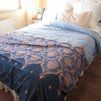 Expedited fast shipping Dorm Bedding Pink Blue Navy DAMASK print TWIN XL duvet cover  - romantic bedroom - dorm bedding