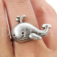 Small Cute Adjustable Whale Ring