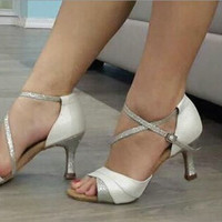 New Women White Satin SALSA Dance Shoes Ballroom Wedding Dance Shoes ALL SIZE