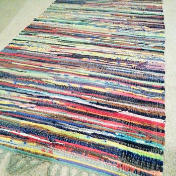"Rag Rug Runner, Chindi Rugs, Boho Chic Area Rug, Colorful Hippie Rugs, Rag Rug Runners, Cotton Hand Woven Loom Rug, 2'4"" by 6"", Rustic Rugs"