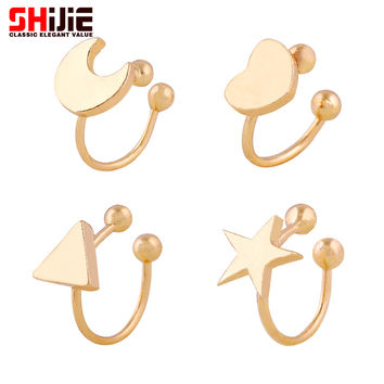Lovely Gold Silver ear cuff clip on earrings for women Star Moon Heart Triangle mini earring Shijie fashion jewelry bijoux femme