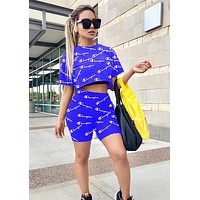 Champion Summer Fashion Women Casual Print Short Sleeve Top Shorts Sport Set Two-Piece Blue