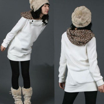 Unique Cotton Womens Hoodies Sweatshirts Leopard Top Outerwear Coats = 1695590788