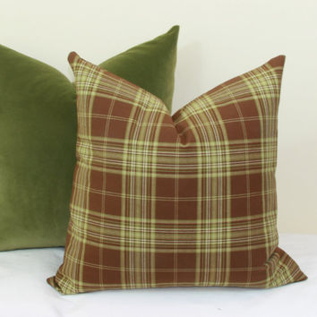 Brown green plaid throw pillow cover 18x18 20x20 22x22 24x24 26x26 Euro sham Brown lumbar pillow Plaid pillow Brown green pillow 12x20 12x24