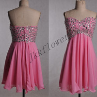 Short Hot Pink Prom Dresses,Beaded Party Dresses, Chiffon Bridesmaid Dresses,Homecoming Dresses,Cocktail Dresses