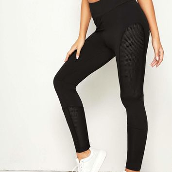 Black Fishnet Panel Skinny Leggings