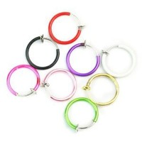 Clip On Fake Piercings 8 Color Rings Ear Nose Lip Belly Ring Fancy Dress Punk