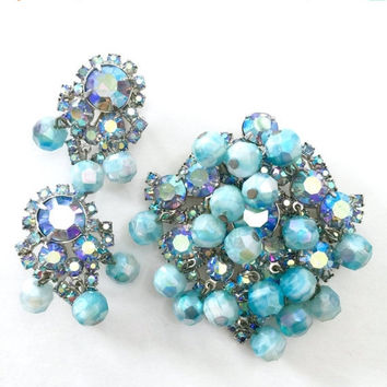 Juliana Blue Demi Parure, Brooch and Earrings, Blue Crystal Dangles, Blue Aurora Borealis, Silver Tone, Wedding Jewelry, Special Occassion
