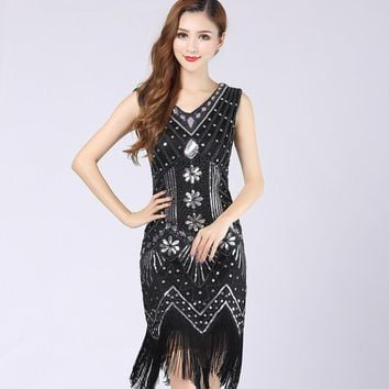 Plus XS XXXL XXL Size Women V Neck sequin flapper tassel vintage dress Bodycon Beaded Party Dress 1920S Dresses Gatsby Great