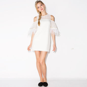 White Fringed Cutout-Shoulder Chiffon Dress