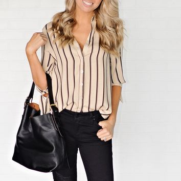 * Conway Striped Button Down : Black/Taupe