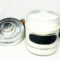 Repurposed Jar Soy Wax Candle/Chalkboard Jar/Vanilla Bean Scented Candle/Farmhouse Decor/Country Chic Living/Chalk Board