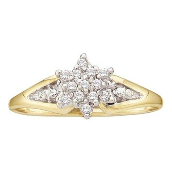 10kt Yellow Gold Women's Round Diamond Star Cluster Ring 1/10 Cttw - FREE Shipping (US/CAN)