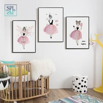 SPLSPL Dressed in Skirt Ballet Girl and Angel Canvas Painting Wall Art Pictures for Child Bedroom Decor No Frame
