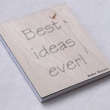 Small Ruled Notebook for Your Best Ideas, with Wooden Cover, Gift Idea, Wood, Lasercut