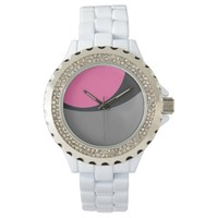 Pink Grey and Silver Line Abstract Watch