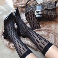 """Fendi"" Women All-match Fashion Perspective F Letter Semi-High Stockings Short Socks"