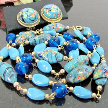 Vintage VENETIAN Glass Bead Necklace Clip Earrings Blue Millefiori Murano