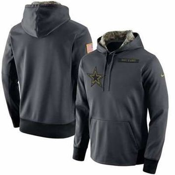 Dallas Cowboys 2017 Men's  Nike Anthracite Salute to Service Player Performance Hoodie