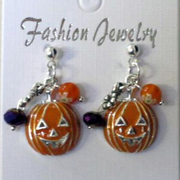 Halloween Earrings Enameled Dainty Pumpkin Head, Purple Crystals,Orange Millefiori beads on Silver Post
