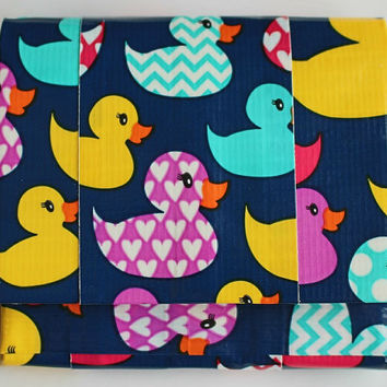 Duct Tape Wallet, Mini Accordion Bifold ~ Rubber Ducks. Small Wallet,Pocket Wallet,Accordion Wallet,Duct Tape Craft,Kids Wallet,Coin Purse