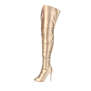 Straps Lace UP Peep Toe Stiletto High Heel Over the Knee Long Boots