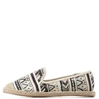 Black Multi Tribal Print Slip-On Espadrille Flats by Charlotte Russe