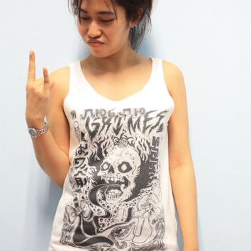 Grimes Pop Punk Rock Women Tank Top Crop Top T-shirt Size S,M,L