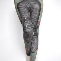 Armour Leggings - Size XXL Green - Printed Chainmail Tights