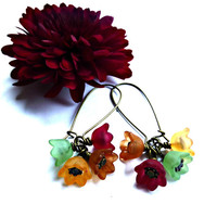 Fall color baby bell dangle earrings, Lucite and bronze jewelry. dangle.