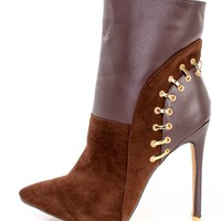 Brown Pointy Toe Studded Heel Ankle Booties Velvet
