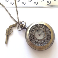 steampunk pocket watch necklace Pirates of Caribbean inspired-groomsmen gift