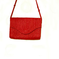 Red Straw Bag For Summer, Beach, Vintage Woven Handbag, Red Envelope Purse, Shoulder Bag