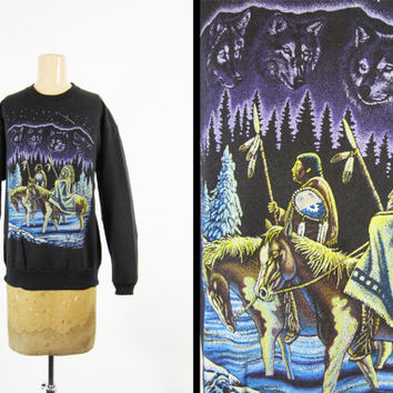 Vintage 80s Native American Sweatshirt Wolf Pack Black Pullover - Medium