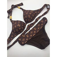 Louis Vuitton LV Sexy Summer Beach Trending Women Halter Letter Logo Print Bandage Bottom Side Knot Two Piece Bikini Swimsuit Swimwear Coffee I-KWKWM