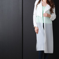 Open Front Roll-Up Sleeve Trench