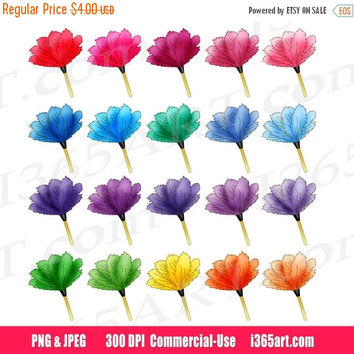 30% OFF SALE Feather Duster Clipart, Rainbow Feather Duster Clip art, Cleaning Supplies Clipart, House Chores, Planner Stickers, Digital PNG