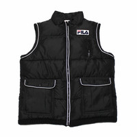 Vintage 90s FILA Sport Black Down Vest Mens Size Small