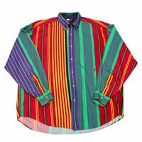 Vintage 90s Tommy Hilfiger Colorful Striped Button Down Shirt Mens Size XL